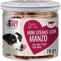 SNACK MINI STEAKS CANE CON MANZO 70 GR