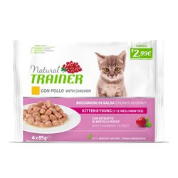 TRAINER NATURAL CAT KITTEN & YOUNG CON POLLO 4X85GR